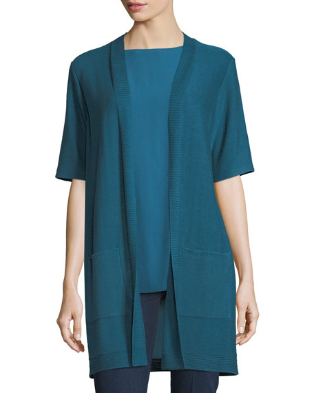 Eileen Fisher Long Simple Half-Sleeve Cardigan, Petite