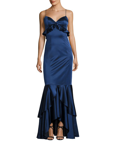 Anna Sleeveless Stretch Satin Ruffle Gown