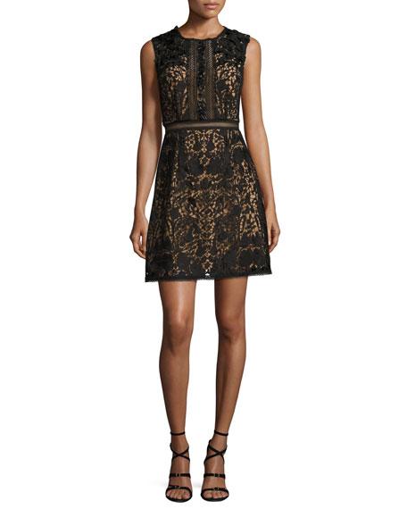 Marchesa Notte Sleeveless Lace A-Line Dress, Black