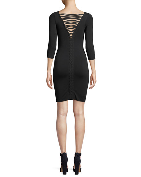 Lace-Up Back 3/4-Sleeve Body-Con Cocktail Dress