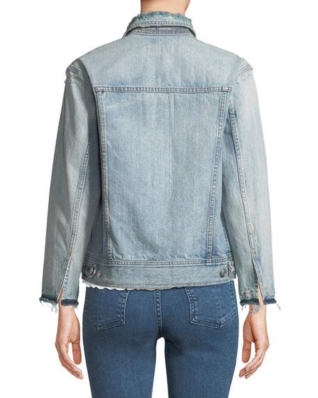 Nico Button-Down Distressed Light-Wash Denim Jacket