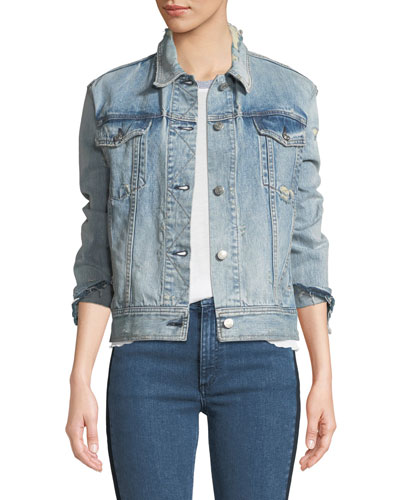 Nico Button-Down Distressed Light-Wash Denim Jacket
