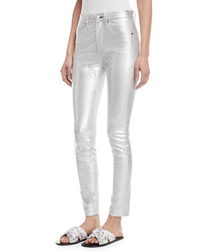 High-Rise Skinny Metallic Leather Pants