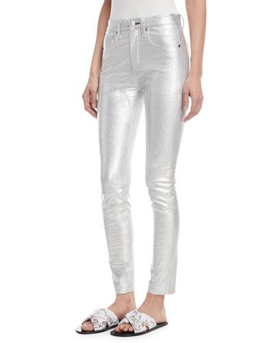 High-Rise Skinny-Leg Metallic Leather Pants