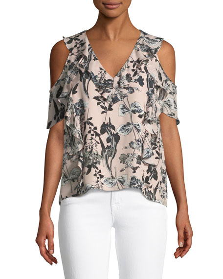 Parker Tudor V-Neck Cold-Shoulder Floral-Print Silk Top