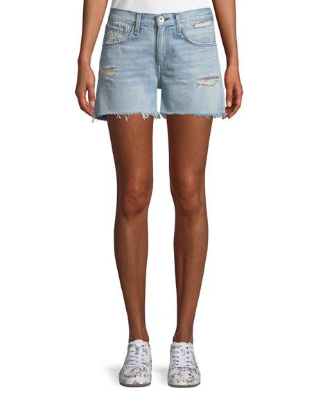 Denim Boy Shorts w/ Raw-Edge Hem