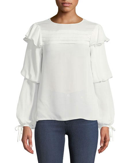 Finch Long-Sleeve Silk Blouse with Pleating & Ruffles
