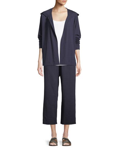 Slouchy Cropped Organic Slub Jersey Pants, Plus Size