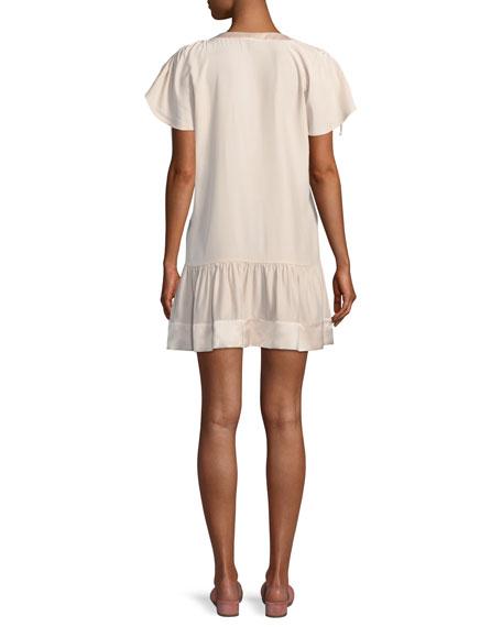 Stacey Drawstring Ruffled Sleeve Silk Short Dress