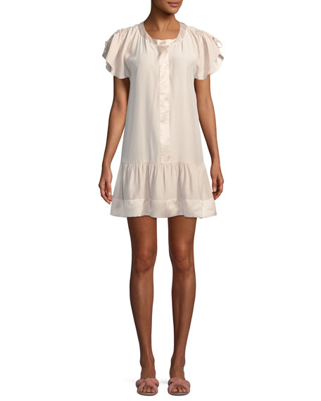 STACEY DRAWSTRING RUFFLED SLEEVE SILK SHORT DRESS