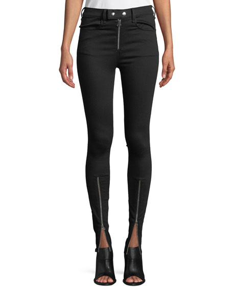 Isabel High-Rise Moto-Inspired Skinny Jeans in Black