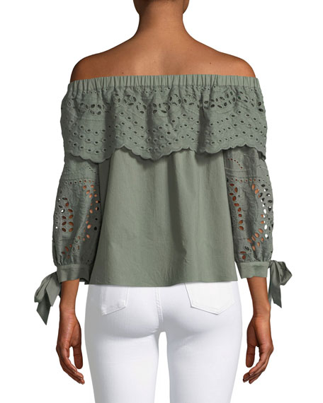 Mandy Off-the-Shoulder Eyelet Cotton Blouse