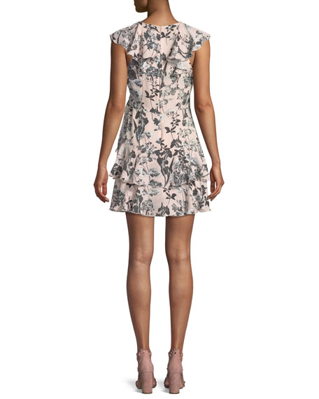 Dorothy Sleeveless Floral-Print Tiered Ruffled Dress