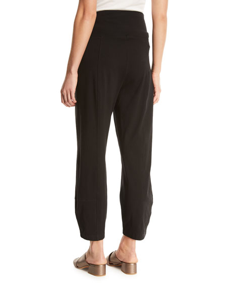 Organic Stretch Cotton Fold-Waist Cropped Lantern Pants