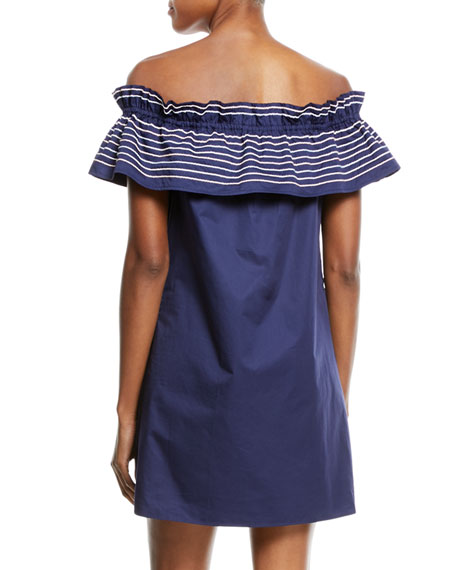 Jody Off-the-Shoulder Topstitched Dress