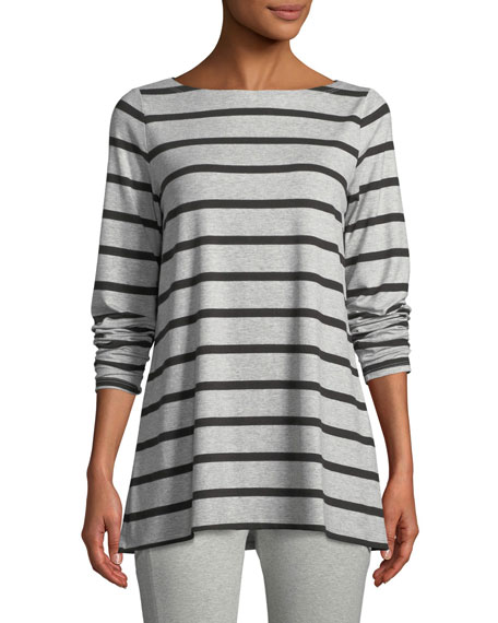 Eileen Fisher Striped Bateau-Neck Long-Sleeve Top, Plus Size