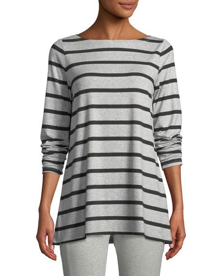 Striped Bateau-Neck Long-Sleeve Top, Plus Size
