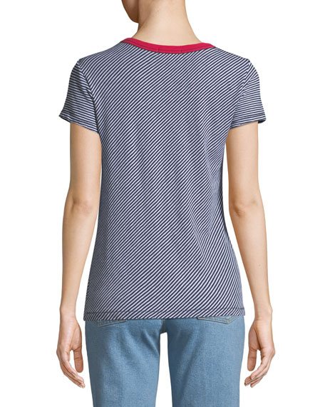 Crewneck Short-Sleeve Striped Cotton Tee