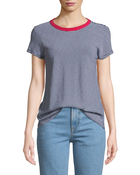 rag & bone/JEAN Crewneck Short-Sleeve Striped Cotton Tee