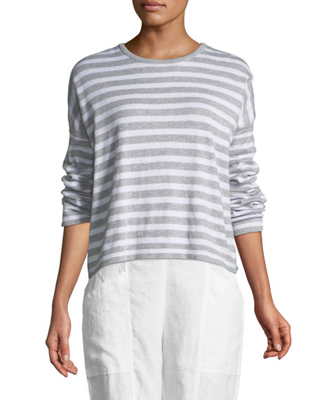 Eileen Fisher Organic Linen Striped Sweatshirt