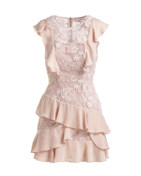 Gabriel Floral-Lace Combo Dress with Ruffled Frills