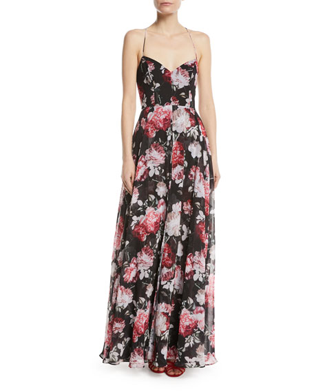 The Khoo Sleeveless Floral Bustier Gown with Lace-Up Back