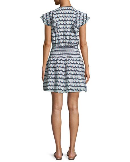 Talbot V-Neck Printed Short Dress