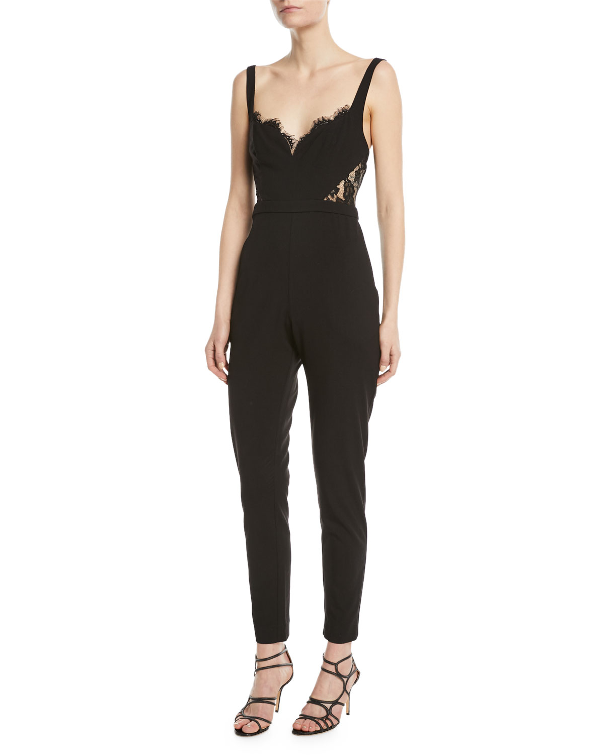 Fame And Partners The Millie Lace Side Cami Top Fitted Jumpsuit