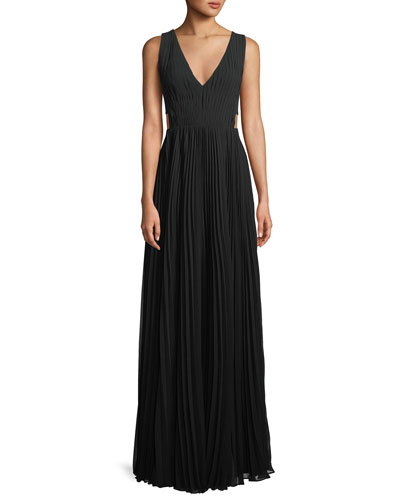 Side-Cutout Accordion-Pleated Gown