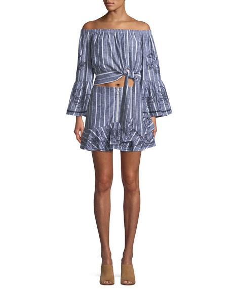 Zoro Striped Linen Mini Skirt