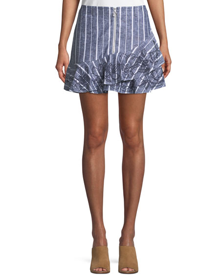 Parker Zoro Striped Linen Mini Skirt