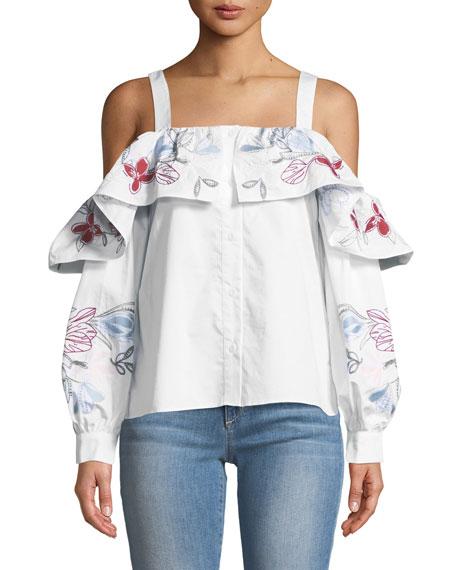 Parker Upton Square-Neck Cold-Shoulder Embroidered Poplin Blouse