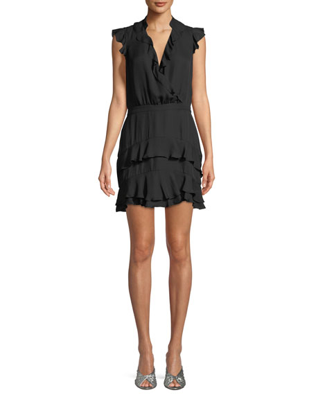 Parker Tangia Sleeveless Surplice Silk Ruffled Dress