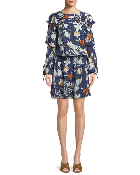 Raquel Long-Sleeve Floral-Print Silk Dress