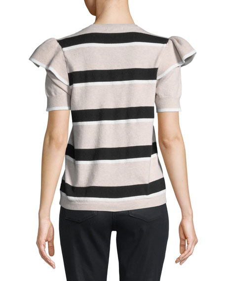 Maren Crewneck Striped Sculpt-Shoulder Knit Sweater