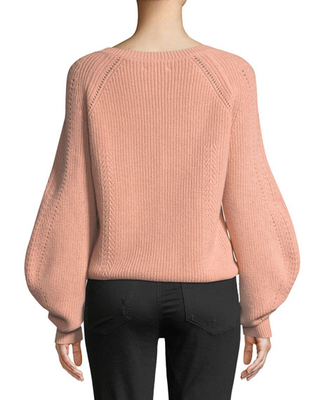 Daia Round-Neck Pouf-Sleeve Knit Sweater with Button Trim