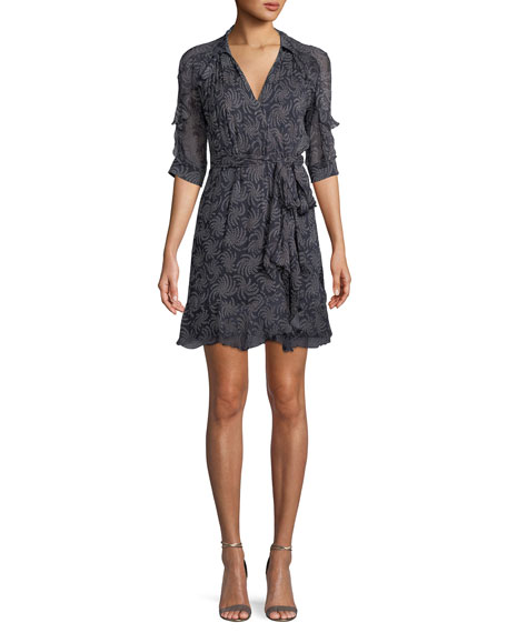 Cora Elbow-Sleeve Printed Wrap Dress