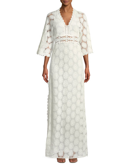 Lorr V-Neck Crochet Lace Maxi Dress