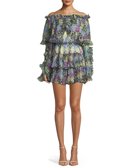 Caroline Constas Dahlia Off-the-Shoulder Ruffled Printed Metallic