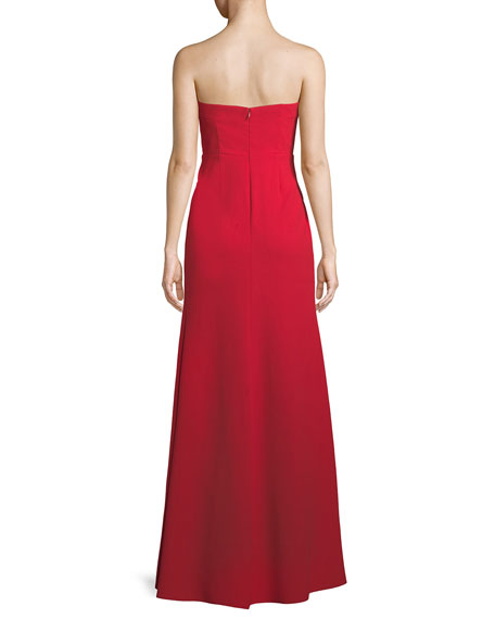 Strapless Deep V Illusion Gown
