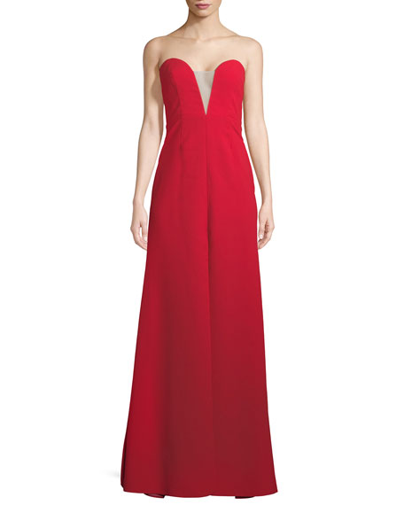 Jill Jill Stuart Strapless Deep V Illusion Gown
