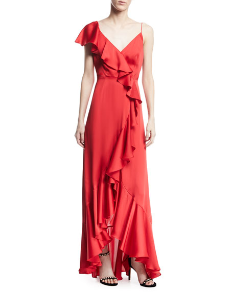 V-Neck A-Line Asymmetric Ruffle Gown