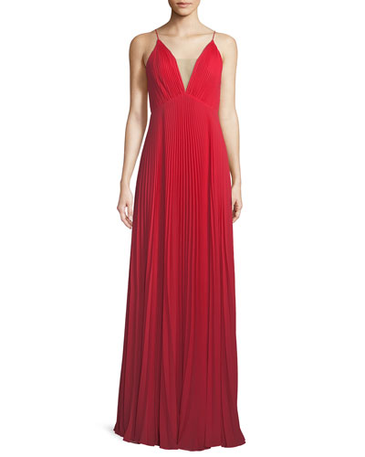 Pleated Deep V-Neck Sleeveless Gown