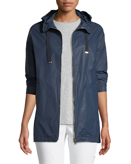 Waxed Cotton A-Line Rain Coat w/ Hood