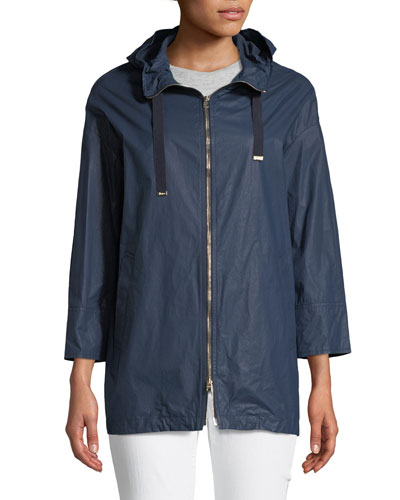 Waxed Cotton A-Line Rain Coat w/ Hood