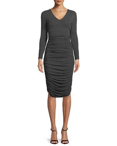 Ruched V-Neck Long-Sleeve Dress
