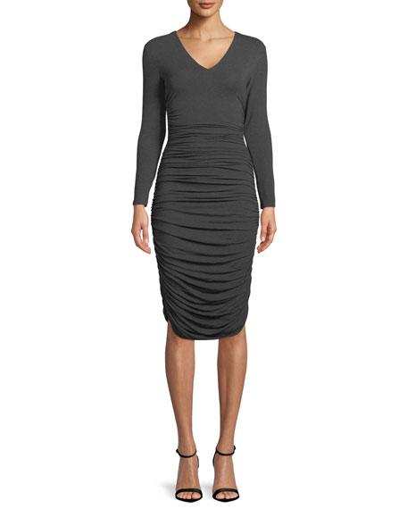 Norma Kamali Ruched V-Neck Long-Sleeve Dress