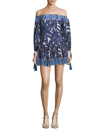 Laila Off-the-Shoulder Printed Short Dress