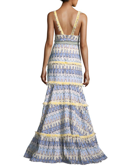 Robyn Deep-V Sleeveless Tiered Printed Gown with Embroidery Trim