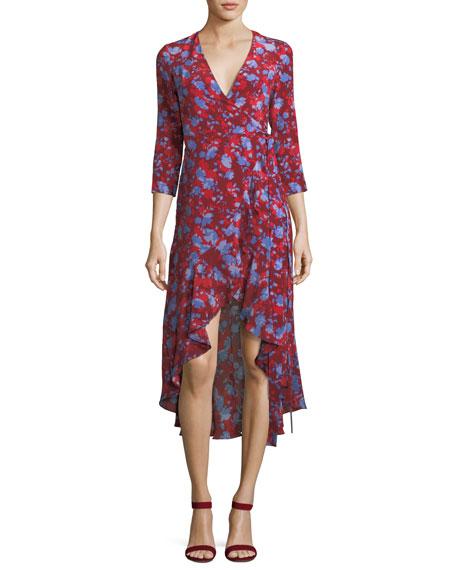 Loma High-Low Floral-Print Silk Wrap Dress